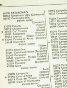 I° elenco CAP, includeva Milano